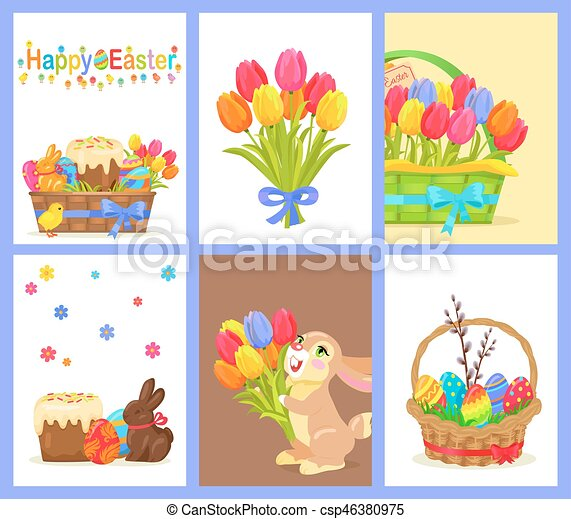 Set of Happy Easter with Flowers and Sweet Dessert - csp46380975