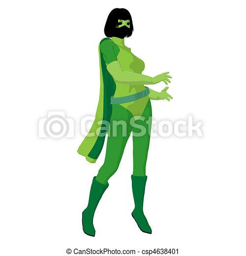 Super Heroine Illustration Silhouette - csp4638401