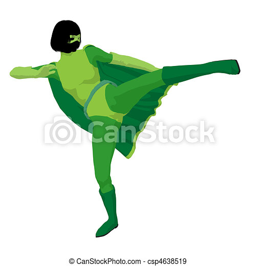 Super Heroine Illustration Silhouette - csp4638519