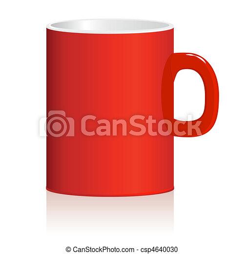Red mug on white background. Vector. - csp4640030