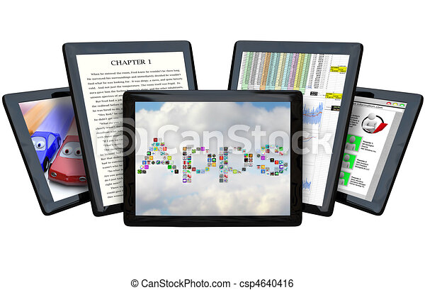 Several Tablet Computers Showing Off Capabilities - csp4640416