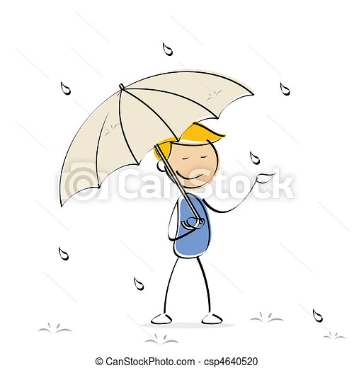 vector kid enjoying rain - csp4640520