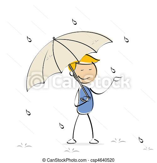 vector kid enjoying rain - csp4640520