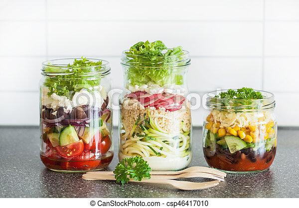 queijo, salada, saudável, pedreiro, vegetal, jarros - csp46417010