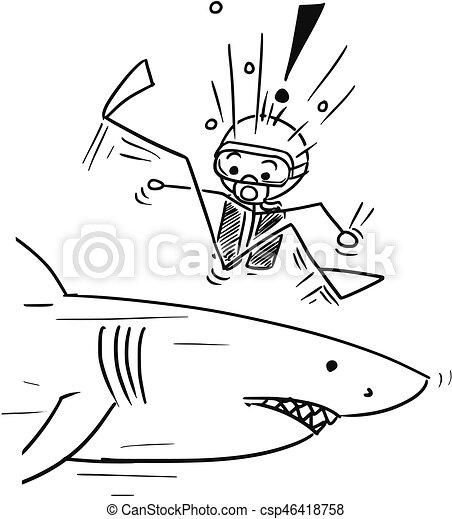 Vecteur clipart de requin plongeur grand vecteur - Dessin plongeur ...