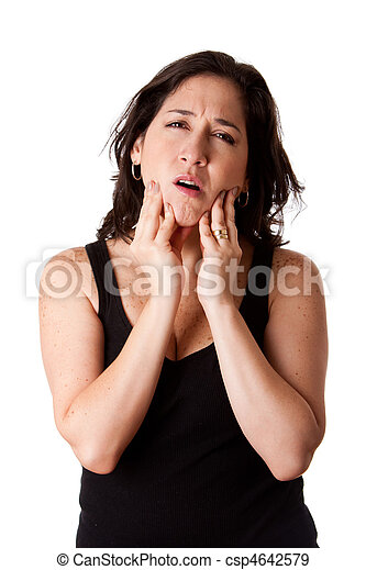 Woman with dental jaw pain - csp4642579