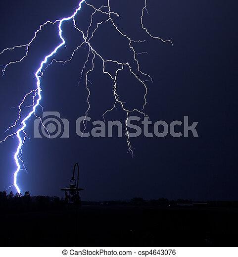 Lightning Strike at Night - csp4643076