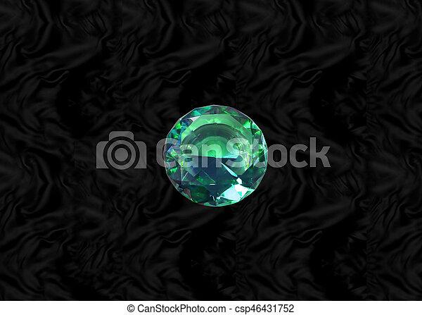 Green gem on black velvet - csp46431752