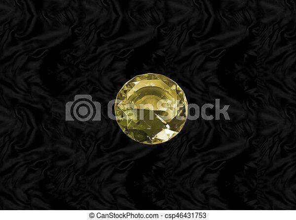 Yellow gem on black velvet - csp46431753