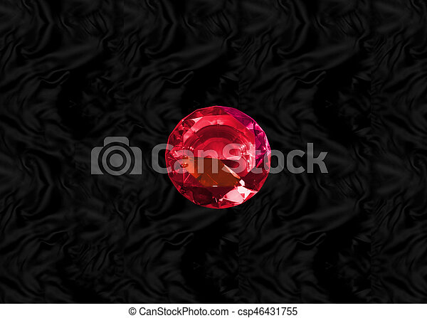 Red gem on black velvet - csp46431755
