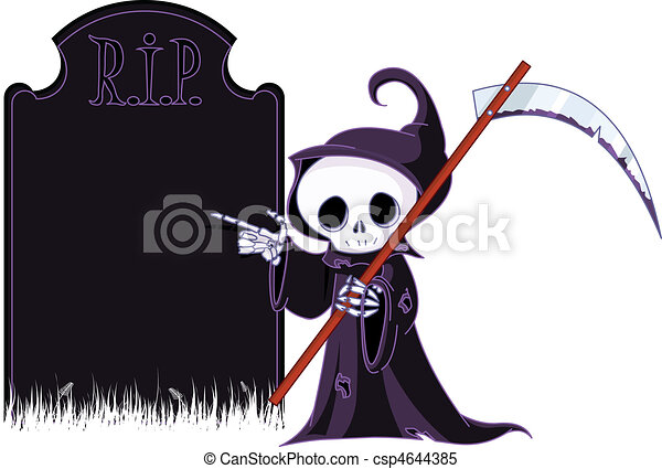 Cartoon grim reaper  pointing to - csp4644385