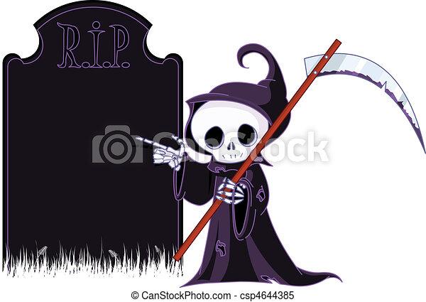 Cartoon grim reaper  pointing to  - csp4644385