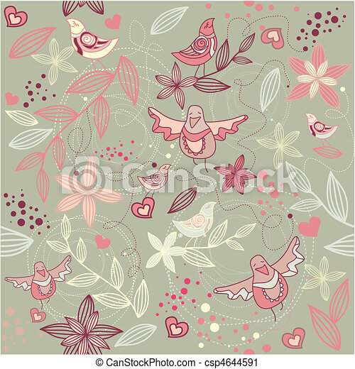 vektor clip art von blumen tapete seamless romantische seamless blumen csp4644591. Black Bedroom Furniture Sets. Home Design Ideas