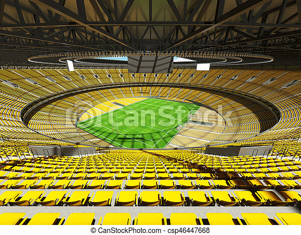 3D render of a round rugby stadium with yellow seats and VIP boxes for hundred thousand people
