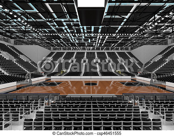 3D render of beautiful sports arena for basketball with floodlights and black seats and VIP boxes for ten thousand people