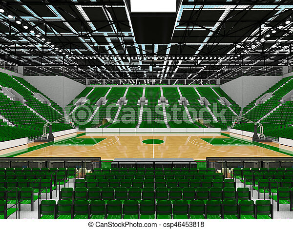 Beautiful sports arena for basketball with green seats and VIP boxes