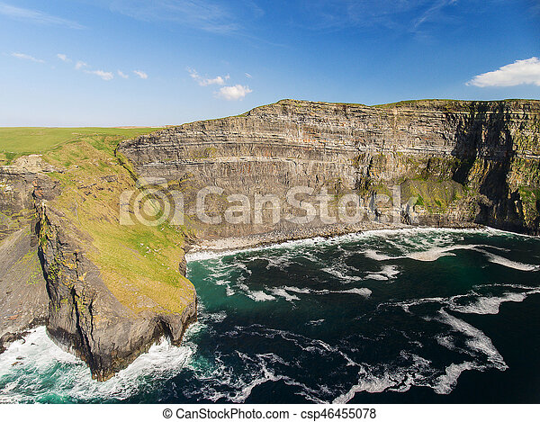 Aerial Ireland countryside tourist attraction in County Clare. The Cliffs of Moher and Burren Ireland. Epic Irish Landscape Seascape along the wild atlantic way. Beautiful scenic nature Ireland