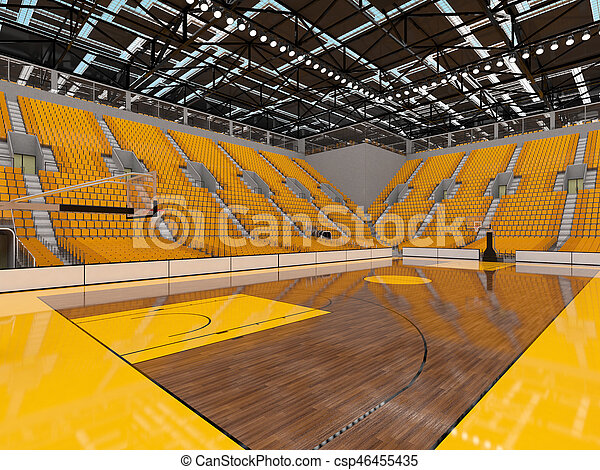 3D render of beautiful sports arena for basketball with floodlights and yellow seats and VIP boxes for ten thousand people
