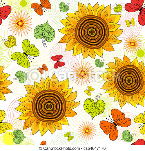 Repeating floral vivid pattern - csp4647176
