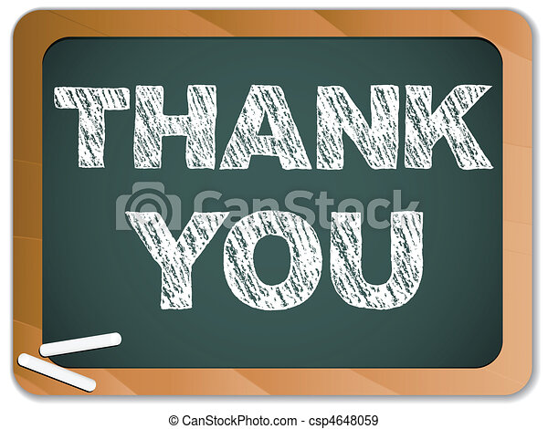 Blackboard with Thank You Message written with Chalk - csp4648059