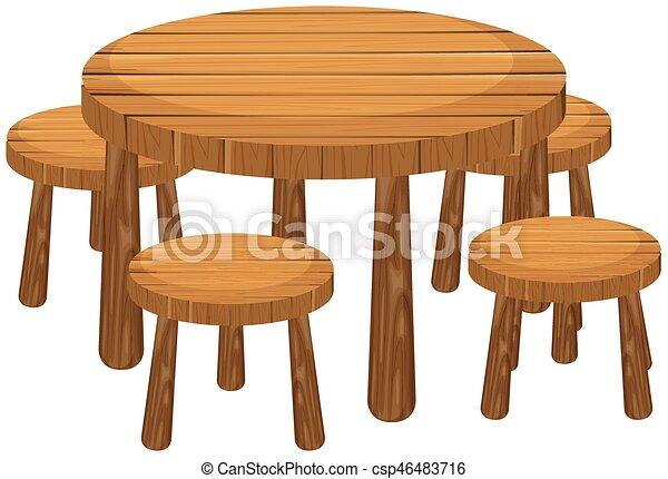 Esstisch clipart  Vektor Clipart von stühle, tisch, runder - Round, tisch, und ...