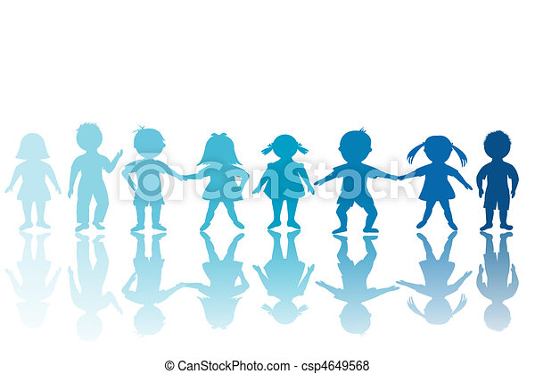 Group of blue children - csp4649568
