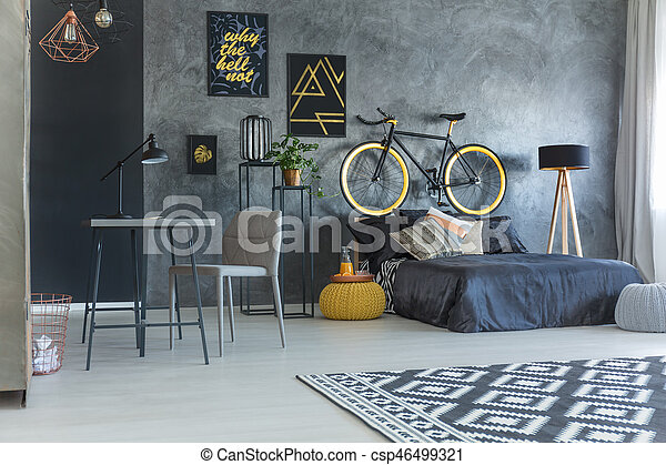 Studio flat for hipster with working area and bicycle