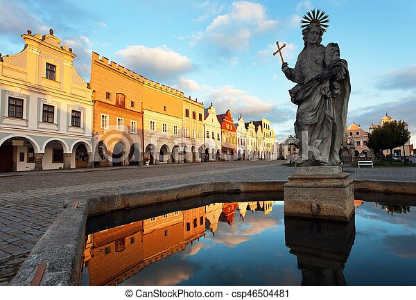 Evening view of Telc or Teltsch town square - csp46504481