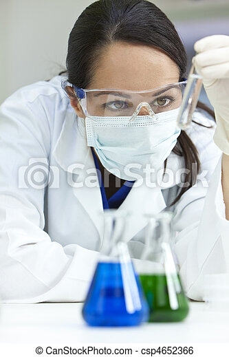 Female Scientist or Woman Doctor With Test Tube In Laboratory - csp4652366