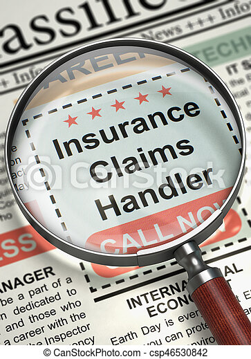 Insurance Claims Handler - CloseUp View of Searching Job in Newspaper with Loupe. Newspaper with Small Ads of Job Search Insurance Claims Handler. Job Search Concept. Selective focus. 3D Illustration.