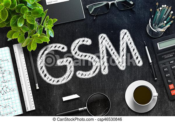 GSM Concept on Black Chalkboard. 3D Rendering. - csp46530846