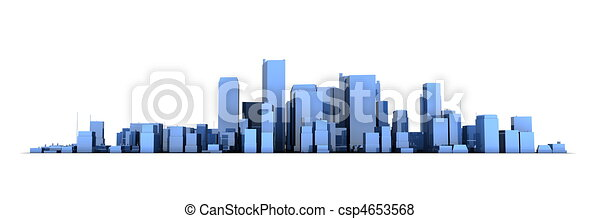 Wide Cityscape Model 3D - Shiny Blue City White Background - csp4653568