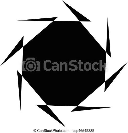 illustration., irradiar, spiral., resumen, líneas, espiral, negro, artístico, radial, blanco, distortion., non-figural - csp46548338
