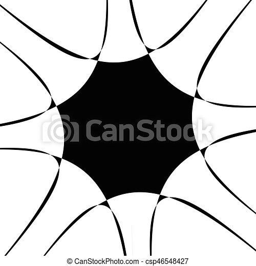 illustration., irradiar, spiral., resumen, líneas, espiral, negro, artístico, radial, blanco, distortion., non-figural - csp46548427