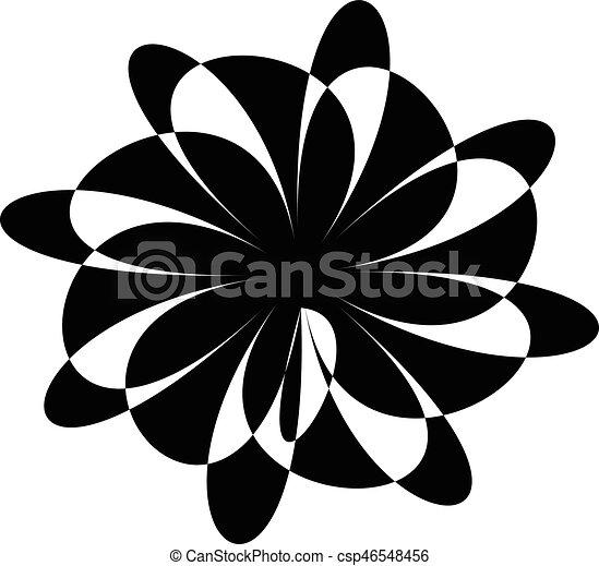 illustration., irradiar, spiral., resumen, líneas, espiral, negro, artístico, radial, blanco, distortion., non-figural - csp46548456