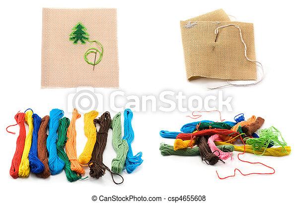 abeto, quadro, construído, colagem, árvores, cor, fios, maneira, bordado, quadros,  bit, vários, tecidos - csp4655608