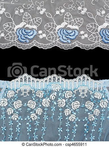 colagem, Renda, com, azul, Padrão, em, a, maneira, de, flor - csp4655911