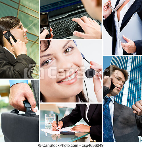 Business people and technology - csp4656049