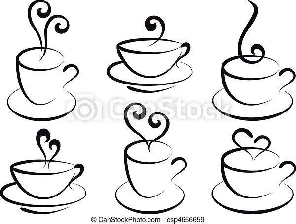 coffee and tea cups, vector - csp4656659