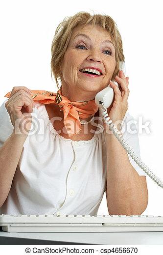 Calling senior woman - csp4656670