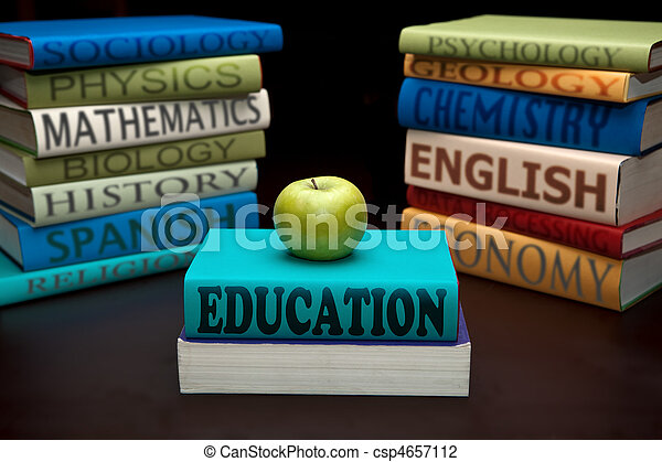 education study books and apple - csp4657112