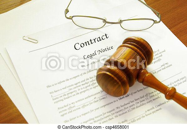 legal contract and law gavel - csp4658001