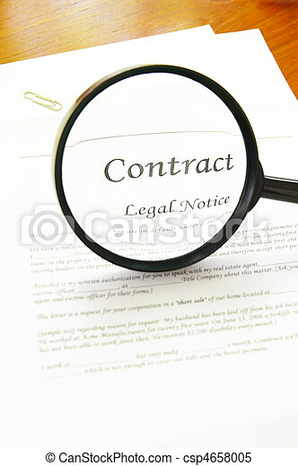 legal contract and magnifying glass - csp4658005