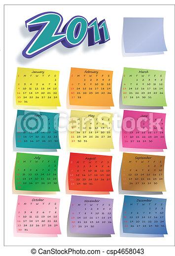 Colorful post-it calendar 2011 - csp4658043