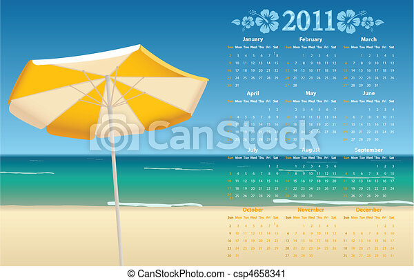 Vector calendar 2011 with tropic be - csp4658341