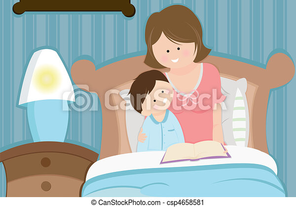 Mother and son reading bedtime story - csp4658581