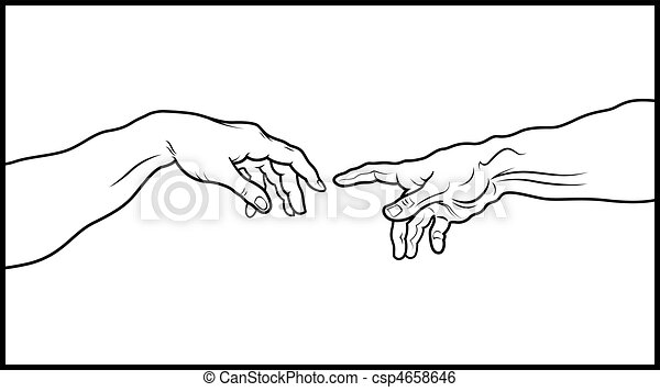 The Creation of Adam. Fragment (Outline vesion) - csp4658646