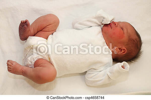 Newborn baby girl couple of hours after birth - csp4658744