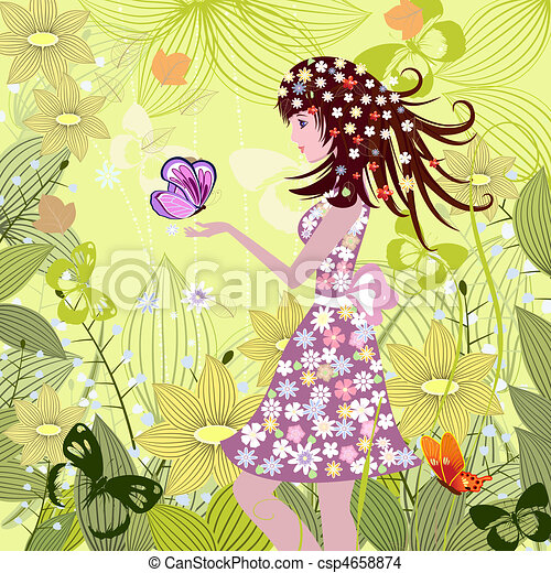 Girl in a fairy tale forest - csp4658874