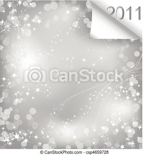 Sparkling sheet of paper with curl 2011. Vector - csp4659728